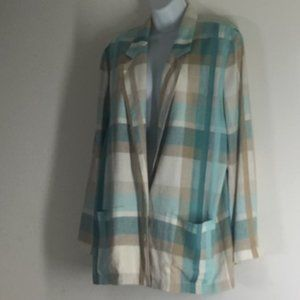 Weathervane Ivory Taupe Teal Cotton Blazer